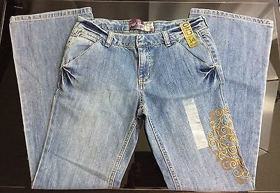 NWT Old Navy Girls Embroidered Leg Light Wash Hipster Jeans Size 14