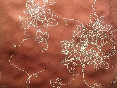 Vintage Kimono Silk Fabric Warm Brown Grape Vines