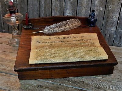 Antique Primitive Wood Writing Slope Lap Desk AAFA + 4th of July Extra's