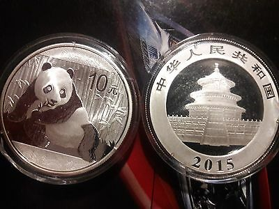 Authentic 2015 1oz Pure .999 Silver Chinese Panda Coin In Capsule Uncirculated