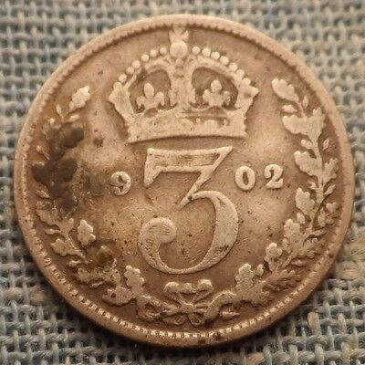 Great Britain   1902   3 Pence Silver Coin   Km#797.1
