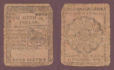 Continental Currency 1/6 One Sixth Of A  Dollar 1776 Hall And Sellers  ---  Mdau