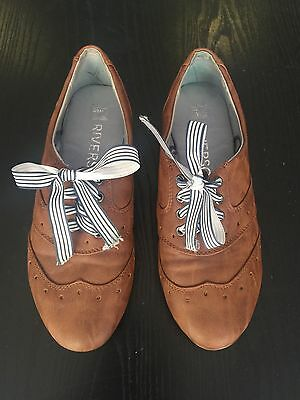 Women's Rivers Brogues Lace Up Flats Size 7