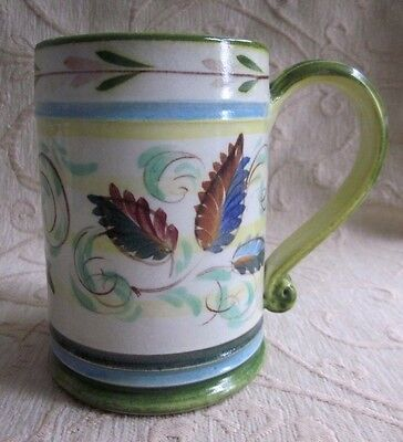 retro 1960s DENBY Glyn Colledge ceramic Handpainted leaves TANKARD - MUG signed