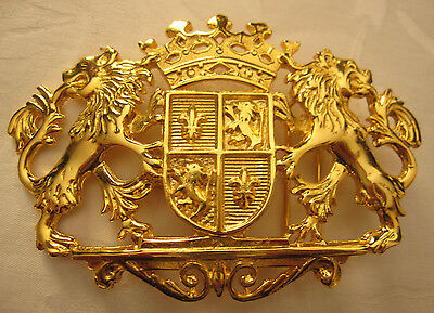 Dotty Smith gold belt buckle lions crown crest