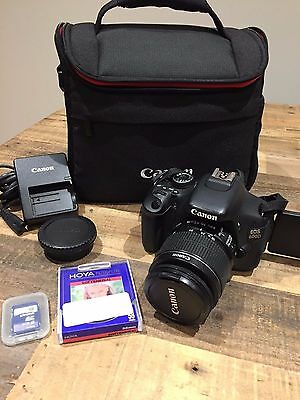 Canon EOS 600D 18MP DSLR Camera - EF 18-55mm IS  Lens, case SD card, low shutter