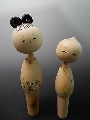 A pair of Japanese Sosaku Kokeshi Doll from Kyoto Wooden Toy 13cm 5.1 inch Tall