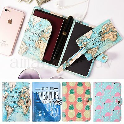 Passport Cover Holder Wallet Case Organizer Protector Travel Vintage World Map