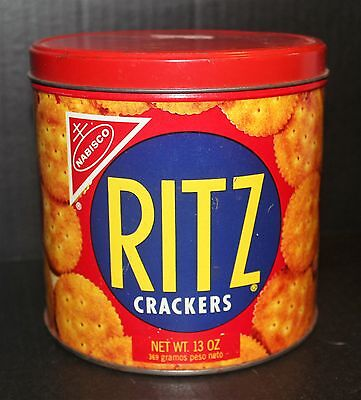 Vintage 1977 Ritz Crackers 13 Oz Round Tin English Spanish Collector Nabisco