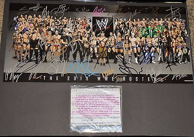 WWE 2013 Roster Poster Autographed by 35 Superstars with COA WWF