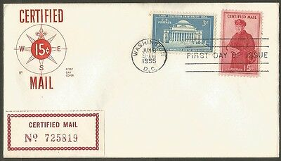 Us Fdc 1955 Certified Mail 15C Stamp Hf Cachet First Day Of Issue Cover