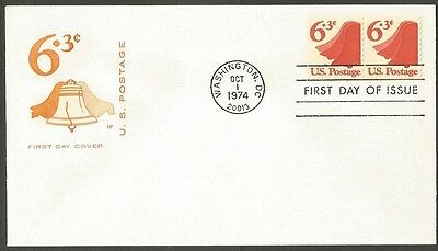 Us Fdc 1974 Liberty Bell 6.3C Stamp Hf Cachet First Day Of Issue Cover