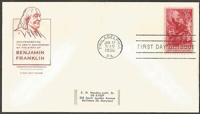 Us Fdc 1956 Benjamin Franklin 3C Stamp Hf Cachet First Day Of Issue Cover