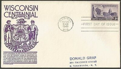 Us Fdc 1948 Wisconsin Centennial Forward 3C Cs Anderson First Day Of Issue Cover