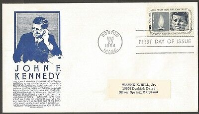 Us Fdc 1964 John F Kennedy 5C Stamp Cs Anderson First Day Of Issue Cover