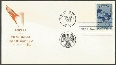 Us Fdc 1960 Employ The Handicapped 4C Stamp Hf Cachet First Day Of Issue Cover