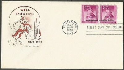 Us Fdc 1948 Will Rogers 3C Stamp Hf Cachet First Day Of Issue Cover