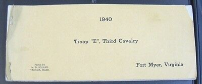 "Troop ""E"", Third Cavalry 1940. Fort Myer VA Picture book"