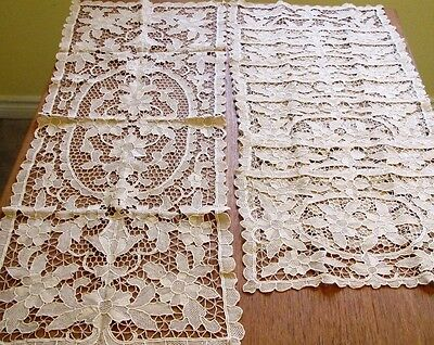 Antique Vintage Lace Placemats Table Runner Set Needlelace Point de Venise 9 pc