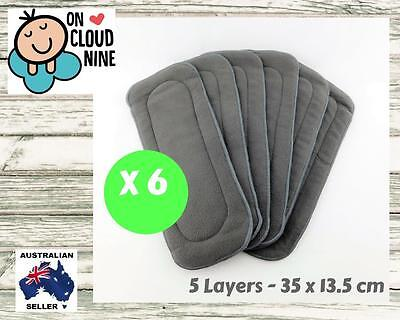 6X 5-Layer Inserts Reusable Bamboo Charcoal Liners for Baby Modern Cloth Nappy