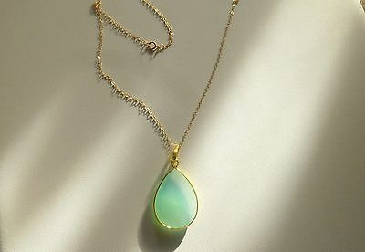 18 Inch 14K Gold Chain with 16 ct  Bezelled Pendant Sea Green Chalcedony Pear