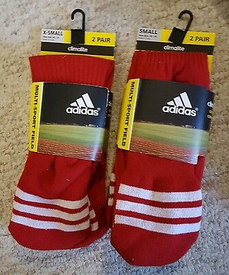 NEW ADIDAS Multi Sport Field Socks Climalite Cushioned RED Youth XS S NWT