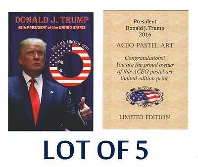 Lot of 5 DONALD TRUMP 2016 Presidential ACEO Pastel Art TEST Cards NEW