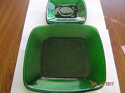 Vintage Anchor Hocking Forest Green Square Plates