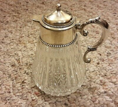Sterling Silver by Wilcox  American Brilliant Cut Glass Pitcher Creamer/Syrup