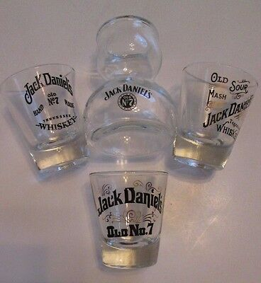 Vintage Lot of 4 JACK DANIELS Shot Glasses - 3 Single,1 Double