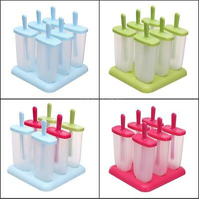 6 Push Up Frozen Ice Cream Mould Popsicle Maker Lolly Tray Pan DIY Pop Mold K0L2