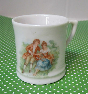 """Vintage Pottery Child's Tiny  Cup Romantic Man & Woman 2"""" Tall  T27"""