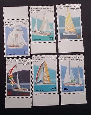1996- Sahara OCC R.A.S.D. Set of 6 x Sail Boats MUH