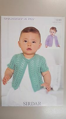 Sirdar Knitting Pattern #1330 Baby & Girl's Cardigan in Snuggly 4 Ply 0-7 Years
