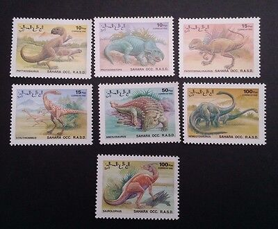 1992- Sahara OCC. R.A.S.D.. Set of 7 X Prehistoric Animal stamps  MUH