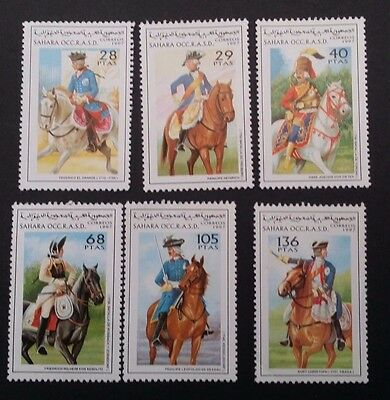 1997- SAHARA OCC R.A.S.D. Set of 6 X Famous figures on Horses Stamps MUH