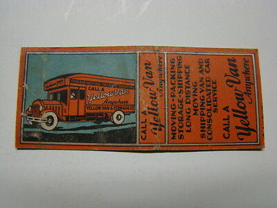Yellow Van & Storage Company Hollywood CA Matchbook Cover 1930's