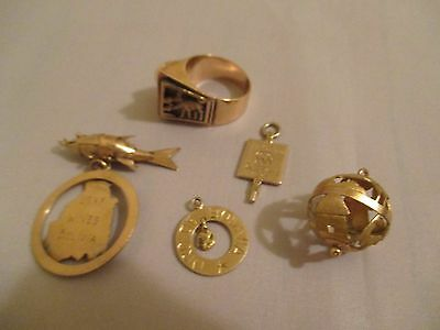 Lot 10k NOT Scrap GOLD 16.2 grams LLAMA RING Articulated FISH 5 CHARMS Bolivia