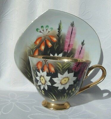Vintage Handpainted Floral Japanese Tea cup and Saucer Tennis set duo