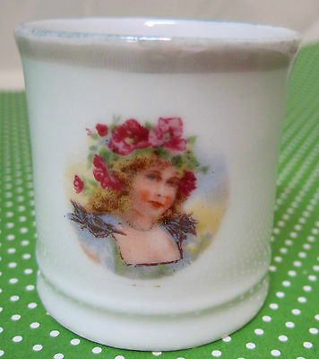 Vintage Pottery Child's Tiny Cup Beautiful Woman Roses in Hair & Grey Luster T27