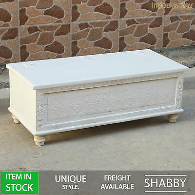 Hand made solid wood white indian blanket box storage trunk coffee table chest
