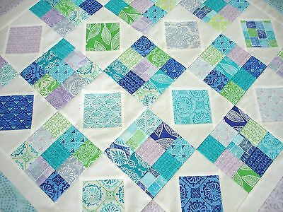"Unfinished Quilt Top, 43"" X 43""  Kate Spain's ""Horizon"", Blues, Greens, Orchid"