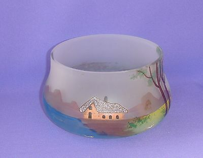 Antique Russian Imperial Glass Bowl vase for candy 19th century, Hand-paint