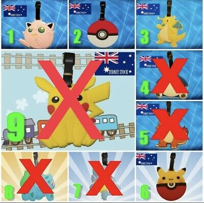 2 x Pokemon Characters Travel Luggage School Sport Bag Tag Name Address Suitcase