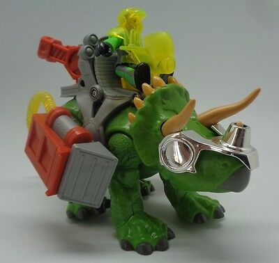 Imaginext Green Triceratops Dinosaur with Battle Gear & Figure