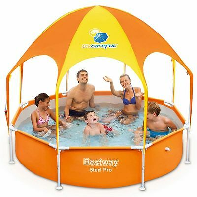 Family Swimming Pool With Sun Protection Shade With Water Sprayer On Top