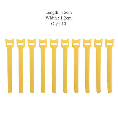 10x Yellow Self Adhesive Hook Loop Cable Ties Fastener Strap Cord Organizer 15cm