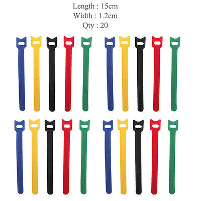 20x Nylon Self Adhesive Hook Loop Cable Ties Fastener Strap Cord Organizer 15cm
