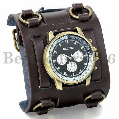 Military Army Wide Leather Band Roman Numeral Dial Mens Sport Quartz Wrist Watch
