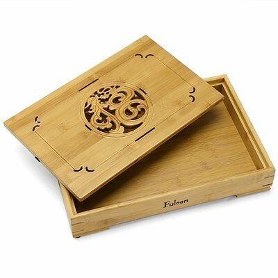 Fuloon Natürlich Bambus Kung Fu Tee-Tablett Tea Table Serving Tray 14x9.2x2.4in
